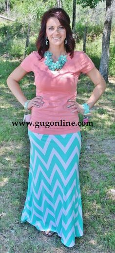 A Little Taste Of Chevron Mint and White Maxi Skirt