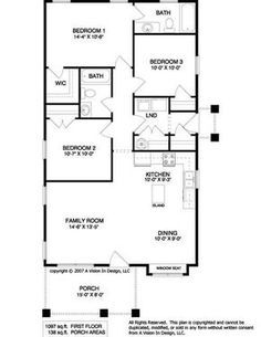 Love the layout for a smaller house. However I'd connect a 2 car garage to the mud room/LND, add a 2 person shower & have a larger tub in the onsuit, jave a larger island with sink in it laid out horizontally rather vertically, and the porch wrapped around the one side.