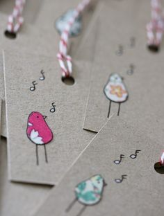 Gift Tags Singing Birds by LilaRubyKingShop on Etsy