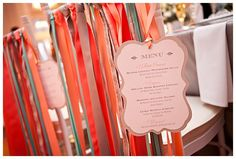 We aren't doing a traditional wedding aisle, so i would like to add ribbons to chairs instead of flowers, so floral arrangements could play off that. whimsical and simple in nature :) Wedding Directions, Wedding Peach, Dream Wedding, Instead Of Flowers, Wedding Themes, Wedding Ideas, Wedding Chairs, Menu Cards, Traditional Wedding