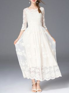 Beige Plain Half Sleeve A-line Maxi Dress