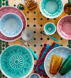 Gorgeous and colorful tableware