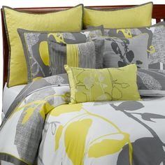 I love the different shades of grey in this bedding!