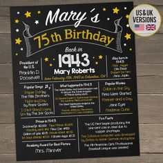 75th Birthday Poster Sign Party Gift Ideas Back In 1944