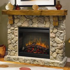 Features:  Product Type: -Fireplace.  Style (Old): -Rustic.  Finish: -Natural Stone.  Primary Material: -Stone/Wood.  Fuel Type: -Electric.  -Flame operates with or without heat.  -Can be placed on a