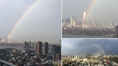Rainbow over world trade center on the Eve of 9/11