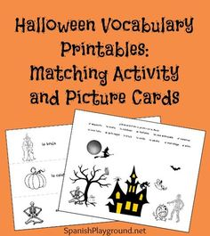 Spanish Halloween printables including 18 vocabulary picture cards and a matching activity. Many suggestions for using the free printables with kids!
