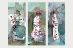 """""""Three geishas""""  Watercolors on high quality paper."""