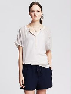 Perforated Drapey Popover Blouse
