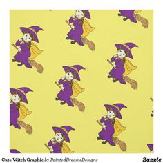 Cute Witch Graphic Fabric