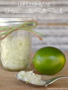 Got ugly winter feet? Get them ready for summer with this refreshing lime-mint homemade salt scrub.  Easy to make using ingredients in your kitchen! :: DontWastetheCrumbs.com