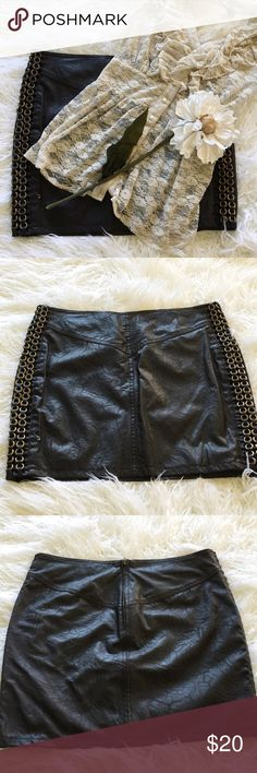 "SALE Andrew Charles Faux Leather Skirt Sexy Andrew Charles Faux Leather Skirt 23"" from top of skirt to bottom zip up back Great Condition Andrew Charles Skirts Mini"