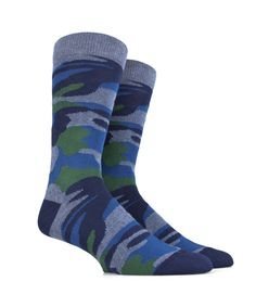 Men's Socks in Soft Cotton - Camouflage - Blue and Green - SockStyle.co.uk