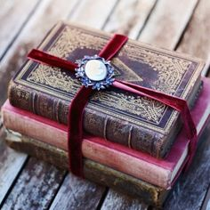 Vintage Books, Velvet Ribbon, Antique Brooch ~ ♥♥
