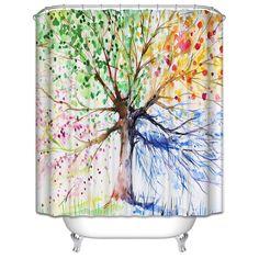 Home & Garden Window Treatments & Hardware Adaptable 3d Sky Tree Beach 73 Shower Curtain Waterproof Fiber Bathroom Windows Toilet Latest Technology
