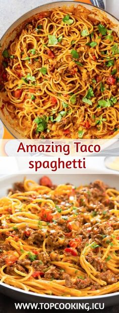 This taco spaghetti couldn't be any easier. Everything is prepared in one pot . - This taco spaghetti couldn't be any easier. Everything is prepared in one pot for very little cle - Taco Spaghetti, Spaghetti Recipes, Easy Chicken Rice Casserole, Pancit Recipe, Soup Recipes, Cooking Recipes, Easy Recipes, Dinner Recipes, Healthy Recipes