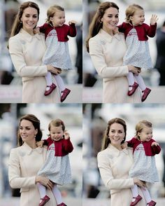 Catherine, Duchess of Cambridge and Princess Charlotte attend a ceremony to mark their departure at Victoria Harbour seaplane terminal in Victoria during the Royal Tour of Canada on October 1, 2016 in Victoria, Canada.