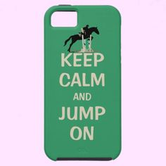 """Keep Calm and Jump On Horse iPhone 5 Case  Cute equestrian cell phone cover with a horse and rider jumping over an oxer fence. Do you ever want to continue riding and not stop? This cute saying """"Fun Keep Calm & Jump On"""" says it all! This is a perfect gift for the equestrian in your life!"""