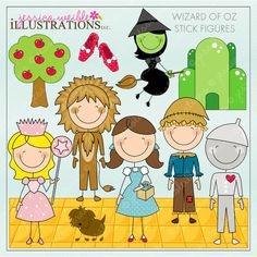Wizard of Oz Stick Figures - Set inludes 11 cute graphics.