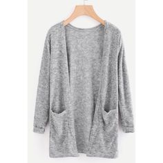 Open Front Cardigan With Pockets (19 AUD) ❤ liked on Polyvore featuring tops, cardigans, grey, short-sleeve cardigan, open cardigan, long sleeve tops, long loose cardigan and long cardigan