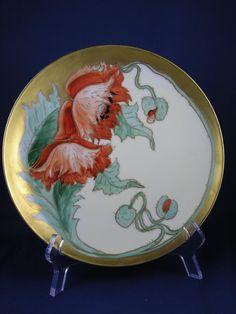 "Haviland Limoges Pickard Studios Poppy Design Plate (Signed ""F.L.""/c.1905-1910)"