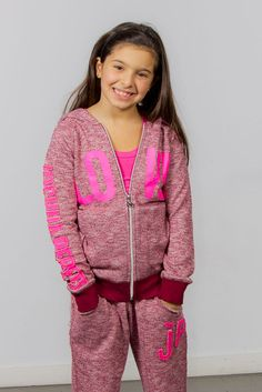 Joshua Perets love pink, burgundy, sweatpants and zip-up hoodie, Girls' sweats outfit Girl Fashion, Fashion Outfits, Fashion Trends, Sweats Outfit, Urban Looks, Cute Girl Outfits, Color Mixing, Cute Girls, Zip Ups