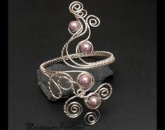 Remolino de plata, brazalete de plata diseño de pulsera de la parte superior del brazo, voilet nebuloso concha perla alambre de cobre plateado de plata brazalete, hecho a pedido-