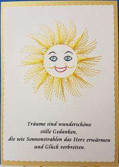 **Fadengrafik Doppelkarte mit Umschlag SONNE 01 mit Spruch**  Sie suchen eine Glückwunschkarte, die es nicht in jedem Geschäft zu kaufen gibt?  Dann versenden Sie mit einer...