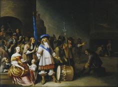 A Guardroom Interior with an Officer and His Men, a Mother & Child by Anthonie Palamedesz