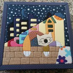 Caixa com patchwork embutido gato