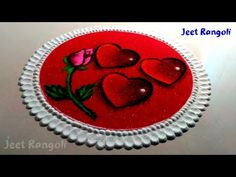 and transperent effect valentine special rangoli. Sanskar Bharti Rangoli Designs, Diya Rangoli, Indian Rangoli Designs, Beautiful Rangoli Designs, Rangoli Painting, Poster Rangoli, How To Make Red, 3d Art Drawing, Cartoon Wallpaper Hd