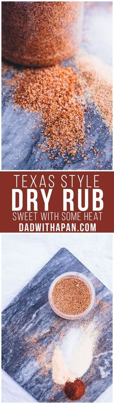 Texas Style Dry Rub For BBQs. Perfect for Chicken, Pork or Beef! Recipe for Texas Style Dry Rub Using Chili Powder, Brown Sugar, Cayenne and other spices to give you a sweet with a little heat type of BBQ rub! Homemade Spices, Homemade Seasonings, Spice Rub, Spice Mixes, Spice Blends, Dry Rub Recipes, Sauce Recipes, Pasta Recipes, Receta Bbq