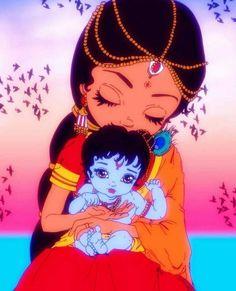 Maa Yashodha with Bal Gopal. Hindus, Bal Hanuman, Krishna Radha, Little Krishna, Cute Krishna, Krishna Drawing, Krishna Painting, Lord Krishna Wallpapers, Radha Krishna Wallpaper