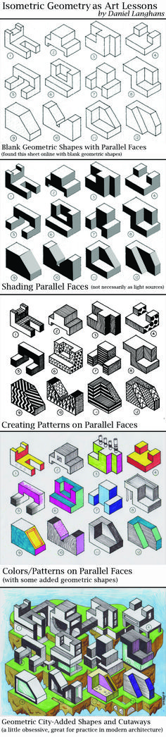 Isometric Geometry-Parallel Faces This is great to teach along side what students are learning in Math, such as Volume in 3D shapes etc... Artist/Teacher Daniel Langhans