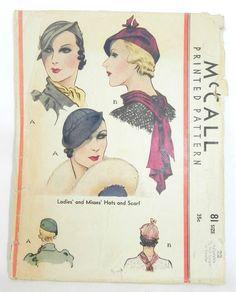 Vintage McCalls Millinery Beret Style Hat & Scarf Printed Pattern 1930s #81