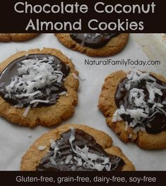 Chocolate Coconut Almond Cookies - Gluten Free and Dairy Free