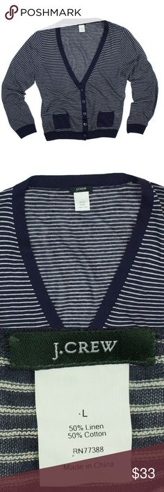 """JCrew Navy Linen Fine Stripe Cardigan Sweater Excellent condition! This navy blue and white 'fine stripe' cardigan sweater from JCrew features a light weight semi sheer material, front pockets and button closures. Made of a linen blend. Measures: Bust: 39"""", Total length: 22.5"""", sleeves: 24"""" J. Crew Sweaters Cardigans"""