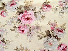 Romantik Rosen Deko Stoff Shabby Landhaus Rosenstoff rosa auf creme Bezugstoff