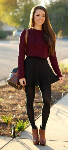 I'm in love with this outfit! Burgundy is one of my favorite colors, and the cropped-top / high-waisted bottom look is one of my favorites. Burgundy and black go great together, and the brown shoes/bag are a gorgeous color addition (not to mention that ankle boots are the cutest!). I would love to have this whole outfit.