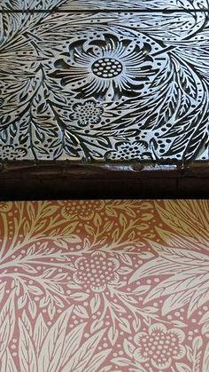 William Morris wood block and print