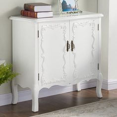 This transitional cabinet will be the perfect finishing touch to your space. With the romantic Queen Anne styling and clean white finish, it will blend well with any decor style. White Console Table, Canada Shopping, Patriotic Decorations, White Bathroom, Accent Furniture, Online Furniture, Your Space, Decor Styles, Nightstand