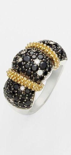 Gorgeous Diamond  Black Spinel Ring