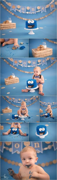 Cookie Monster 1st birthday cake smash - baby's first birthday Cookie Monster Decoration