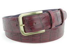 Burgundy mock alligator tail gold buckle belt, £105.00