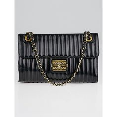 Pre-owned Chanel Black Vertical Quilted Patent Leather Medium Boy Flap... ($2,695) ❤ liked on Polyvore featuring bags, handbags, special occasion handbags, quilted handbags, quilted flap bag, chanel bags and chanel handbags