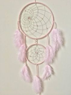 Attrape reve avec plumes rose poudré / Dreamcatcher light pink