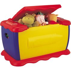 Teach your kids that there is a place for everything and put everything in its place with this giant 45-gallon toy box. This toy box features brilliant red, blue, and yellow primary colors and has an on-board chalkboard with eraser for added fun.