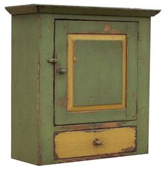 Primitive farmhouse wall cabinet cupboard furniture painted country decor Early American reproduction $375