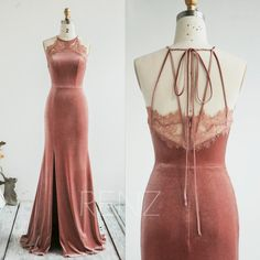 Bridesmaid Dress Dusty Rose Velvet Wedding Dress Halter Mermaid Prom Dress Spaghetti Straps Illusion Lace Back Fitted Formal Dress Dusty Rose Bridesmaid Dresses, Dusty Rose Dress, Bridesmaid Dress Colors, Wedding Dresses, Bridesmaids, The Dress, Dream Dress, Pretty Dresses, Vestidos