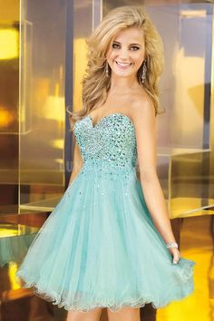 Tulle Baby Doll Empire With Crystal Sweetheart Prom Dress